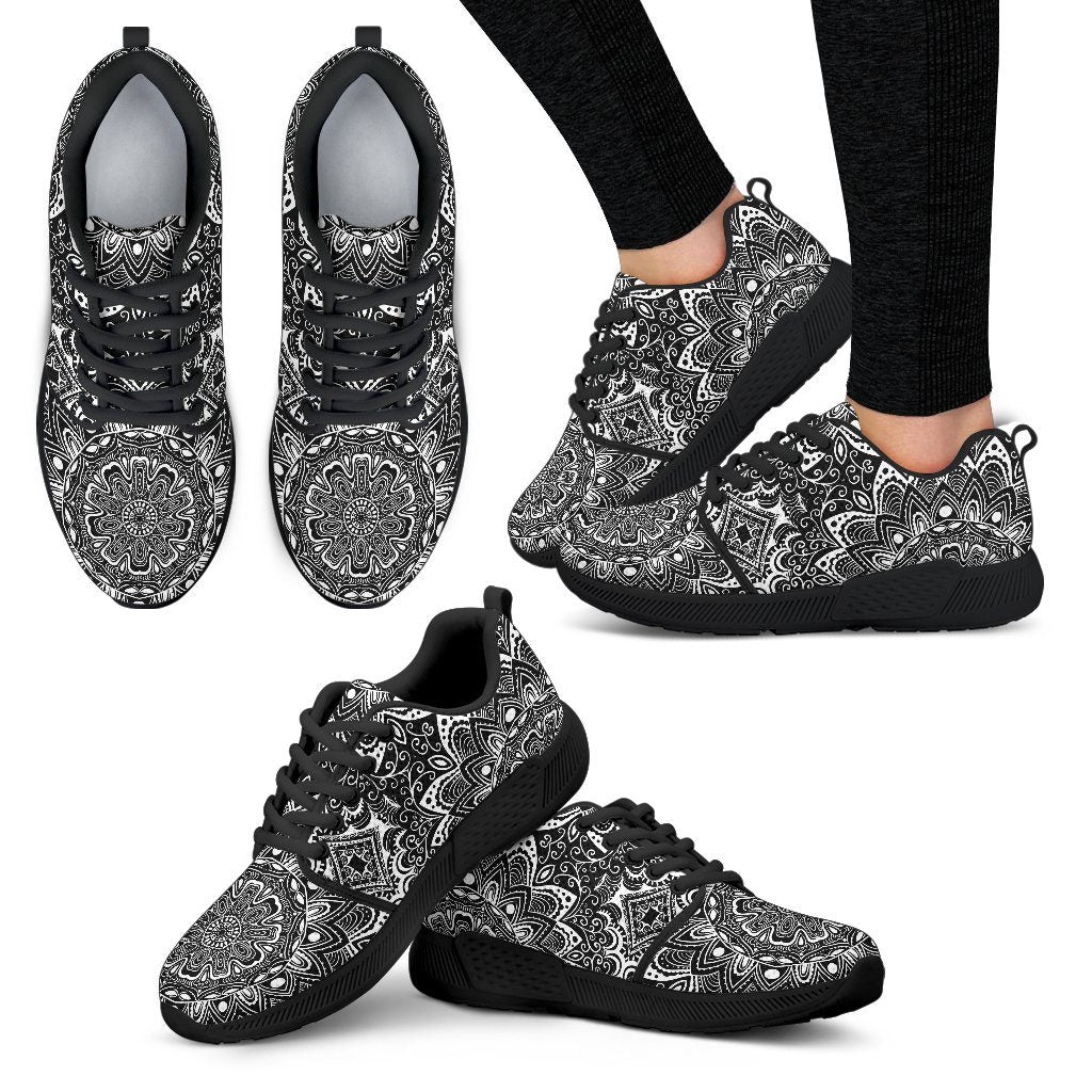 Shoes - Black And White Mandala Athletic Shoes