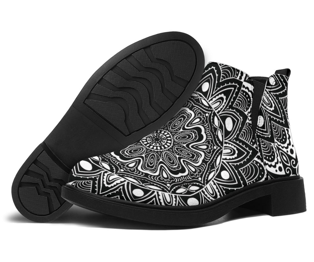 Shoes - Black And White Mandala Fashion Boots