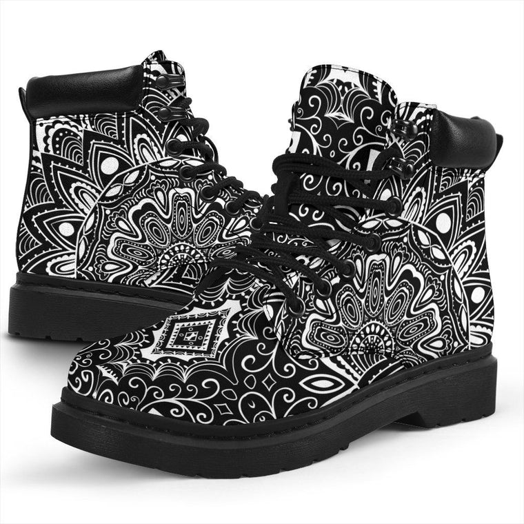Shoes - Black White Mandala All Weather Boots