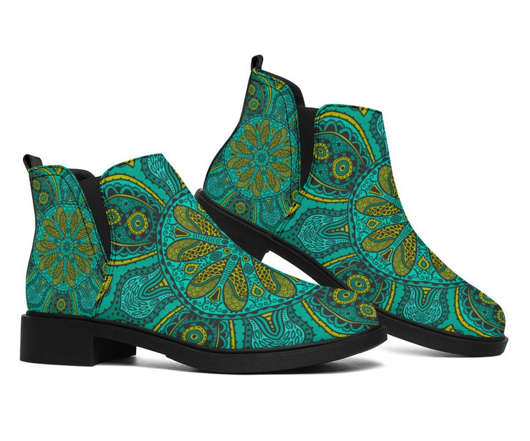 Shoes - Green Mandala Fashion Boots