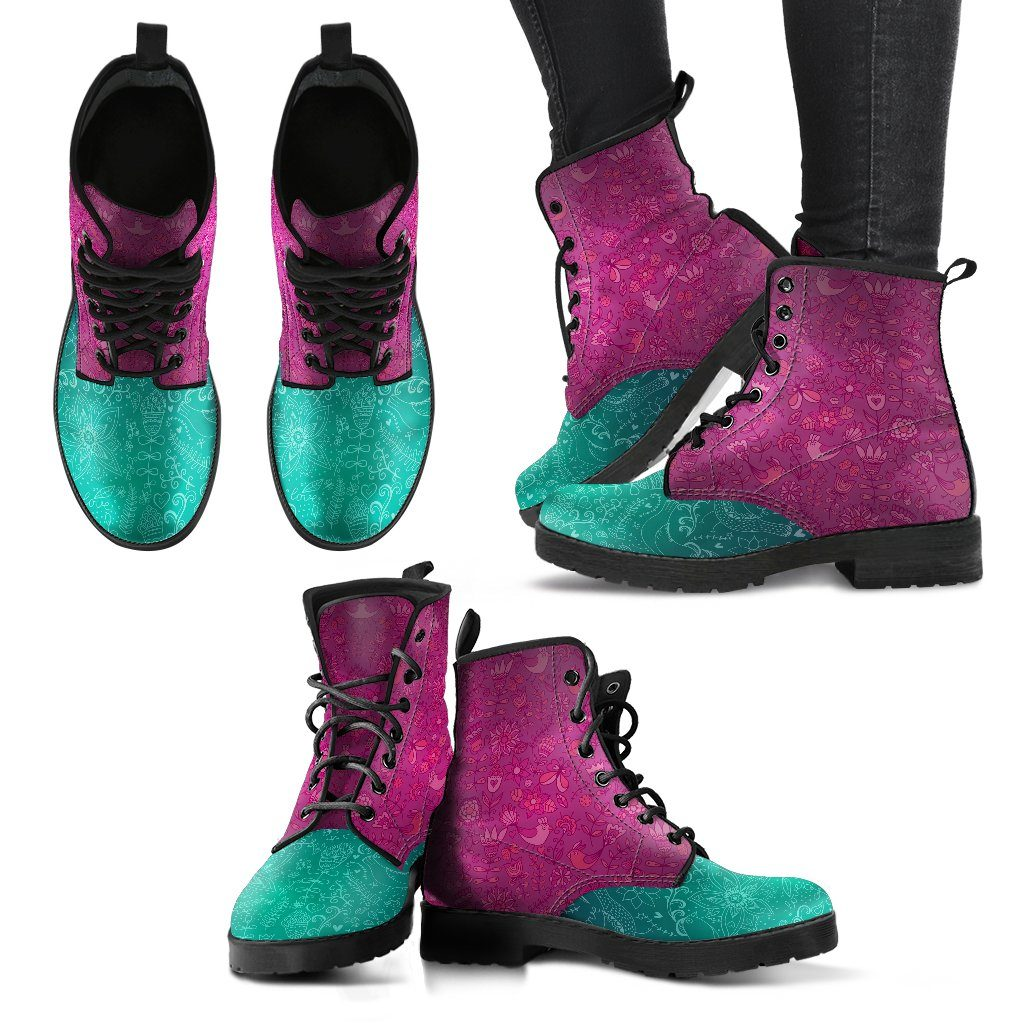 Shoes - Pink And Blue Birds Women's Boots