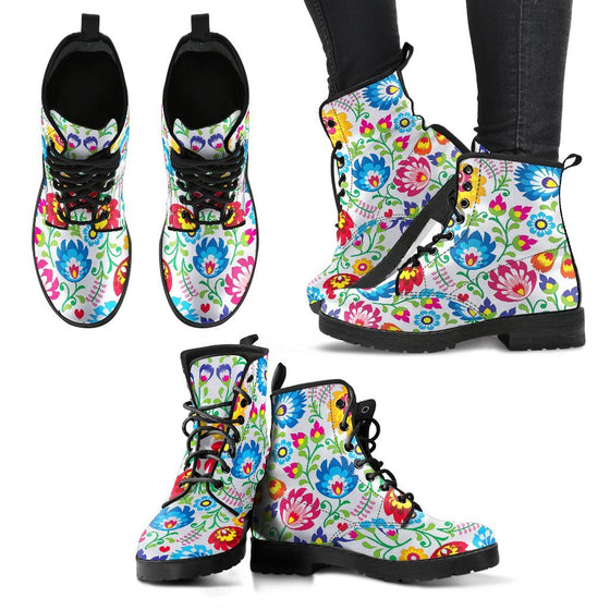 Shoes - White Floral Women's Boots