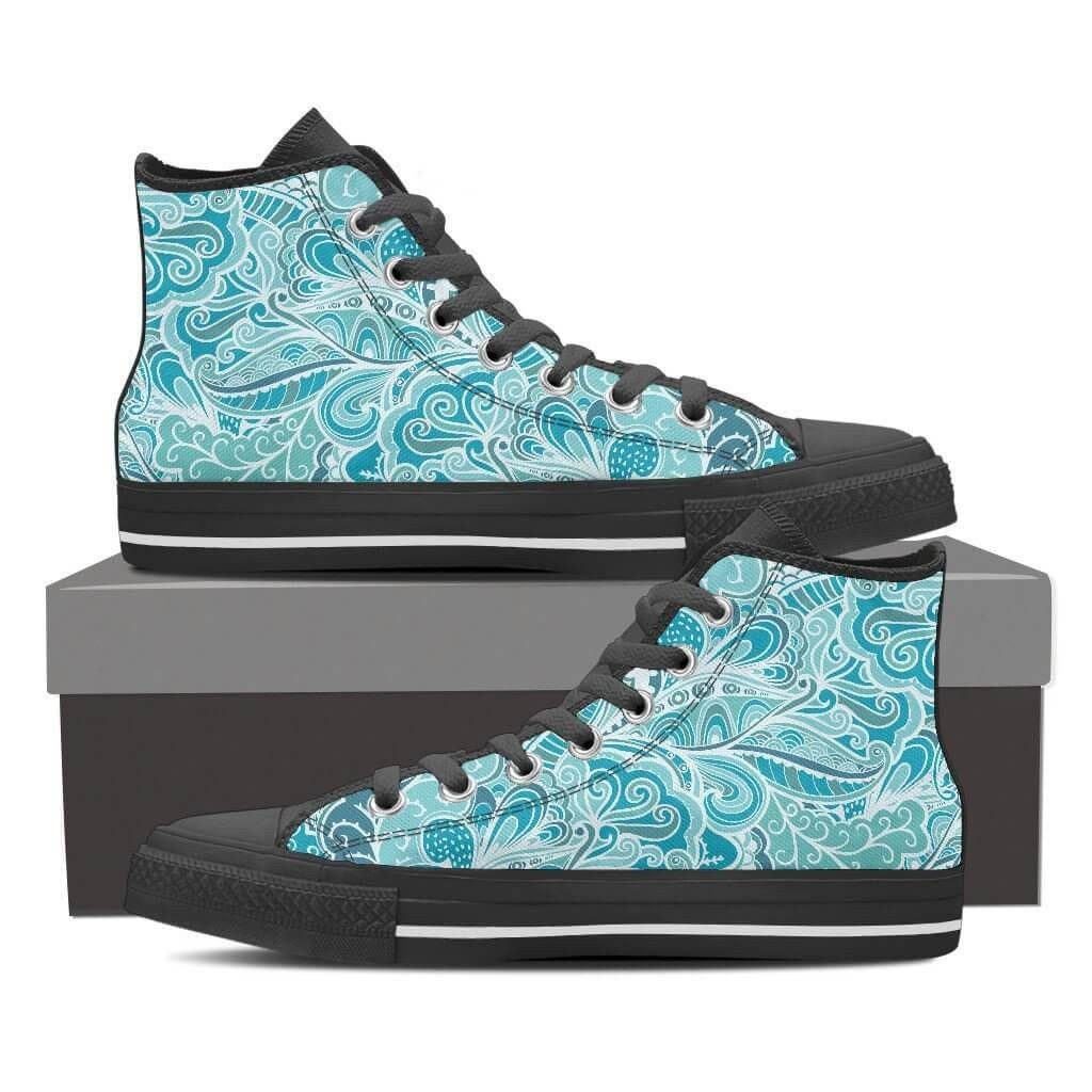 Women High Top Shoes - Calm In Blue High Top