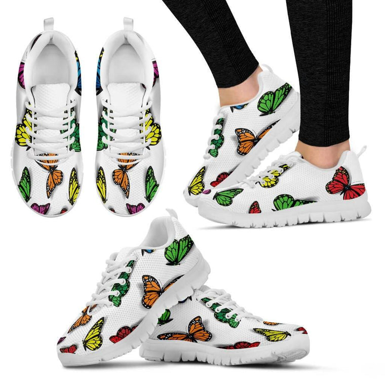 Women Sneakers - Colorful Butterfly Sneakers