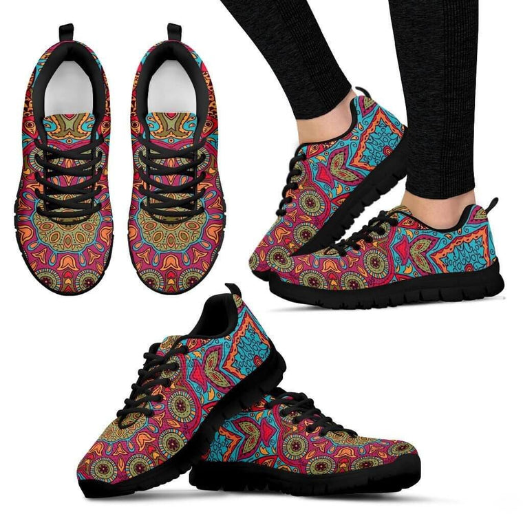 Women Sneakers - Flying Fish Mandala Sneakers