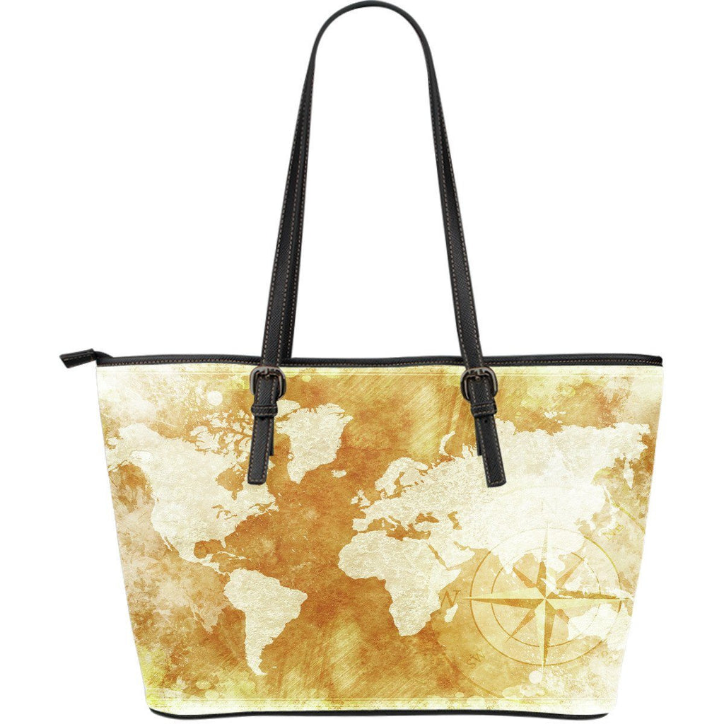 World Map  PU Leather Tote