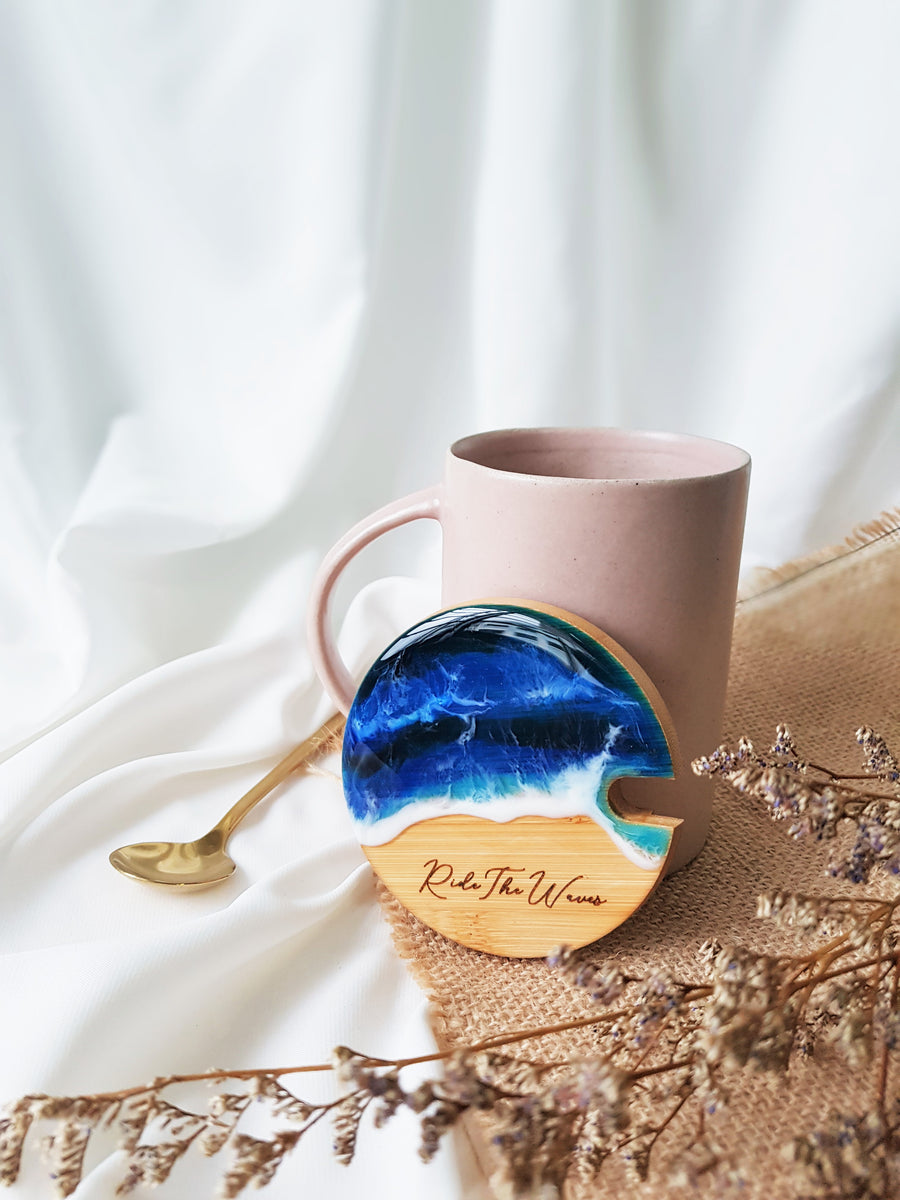 [Ride The Waves] Engraved Lid Ceramic Mug