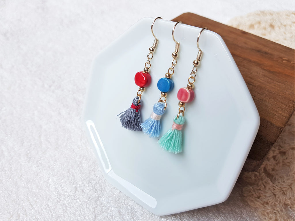 Vera Mini Ceramic Tassels Earrings