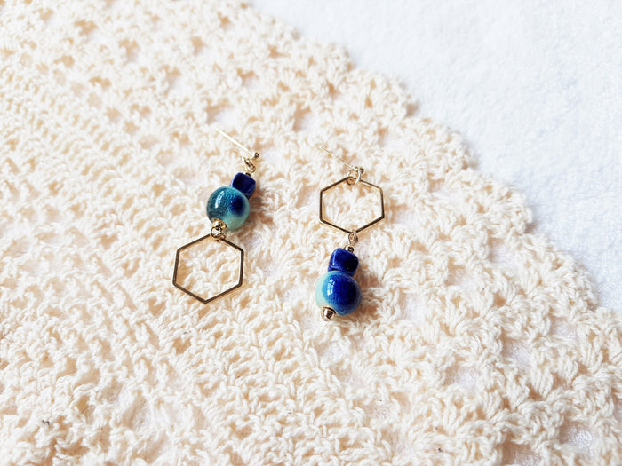 Reia Hex Stud Earrings