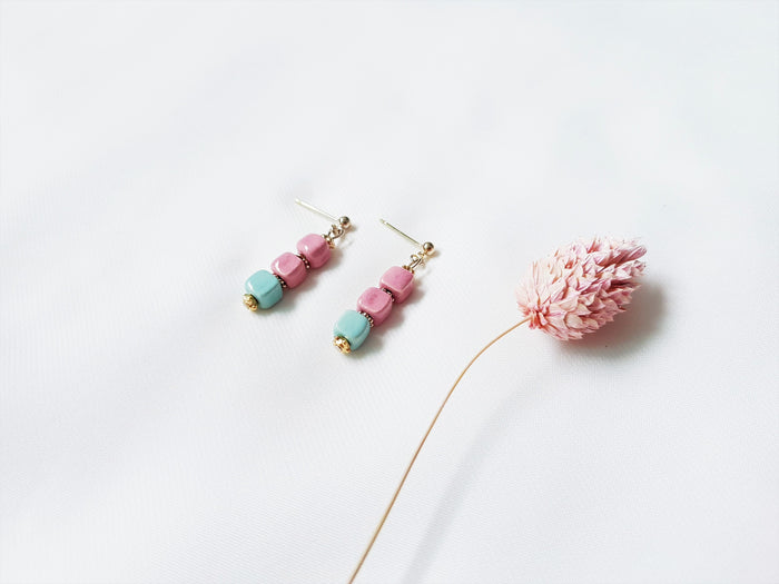 Laila Stud Earrings (Light Pink & Mint)