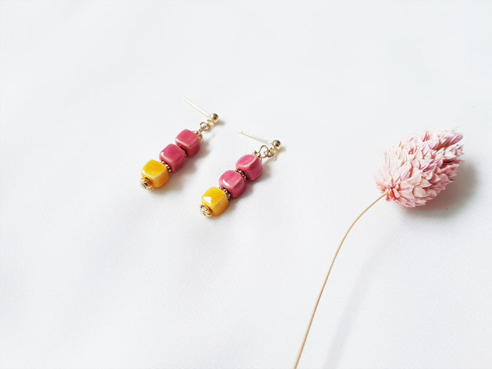 Laila Stud Earrings (Pink & Mustard Yellow)