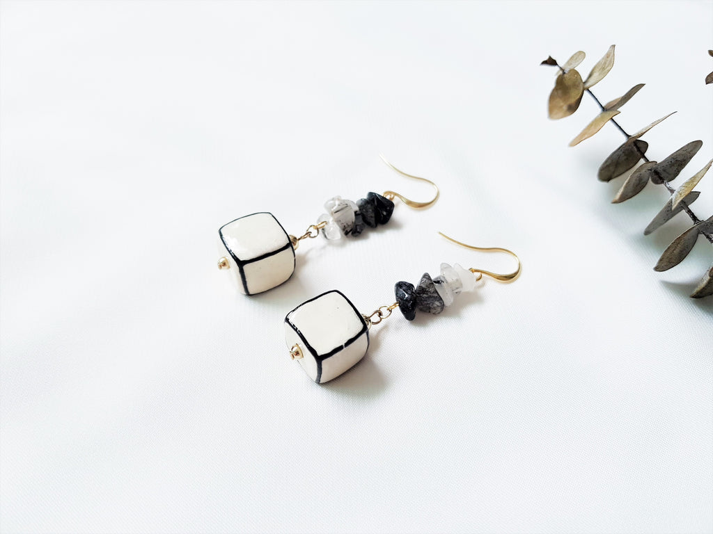 Monochrome Quartz Earrings