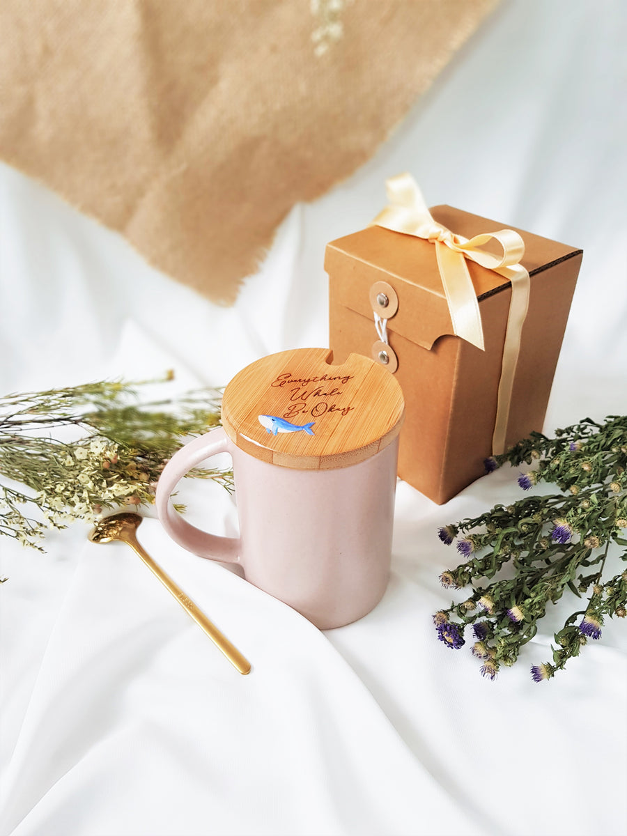 Ceramic Mug with Bamboo Lid - Everything Whale Be Okay
