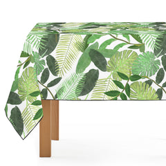Mantel de Hule Green Tropical Watercolor Leaves Pattern