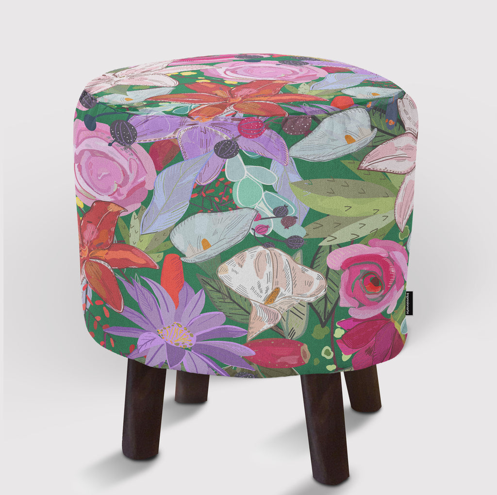Pouf Lily and Colorful Flowers Pattern