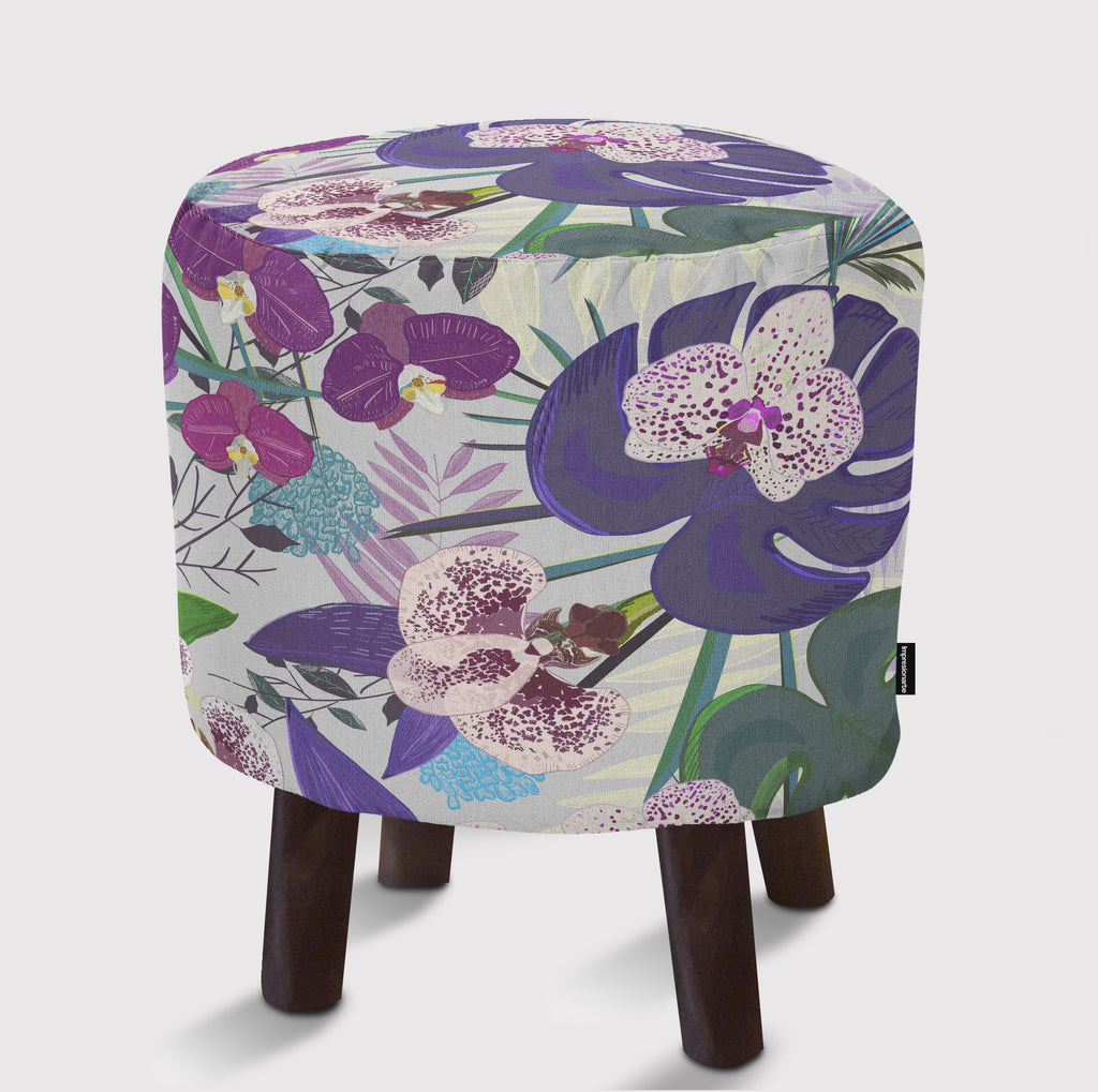 Pouf Orchid and purple green tropical pattern