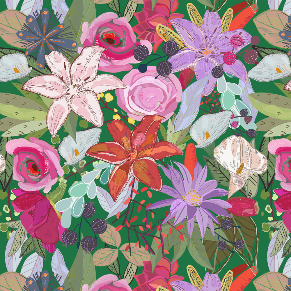Papel Mural Lily and Colorful Flowers Pattern