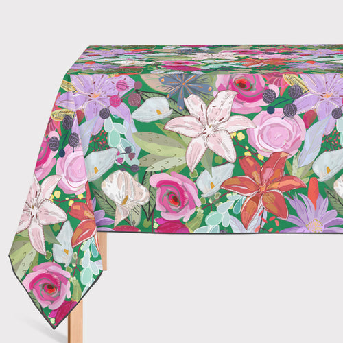 Mantel de Hule Lily and Colorful Flowers Pattern