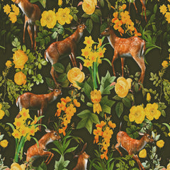 Papel Mural DEER AND FLORAL PATTERN