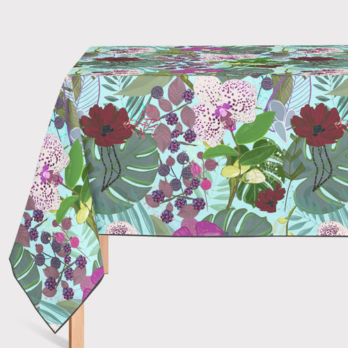 Mantel de Hule Orchid and Cosmos Flower Botanical Floral Pattern