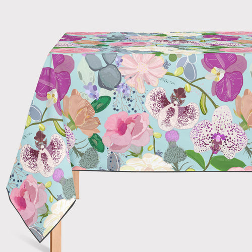 Mantel de Hule Orchid succulent and roses colorful pattern
