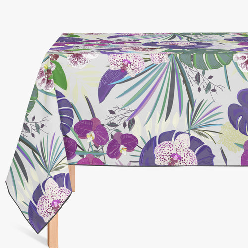 Mantel de Hule Orchid and Purple Green Tropical pattern