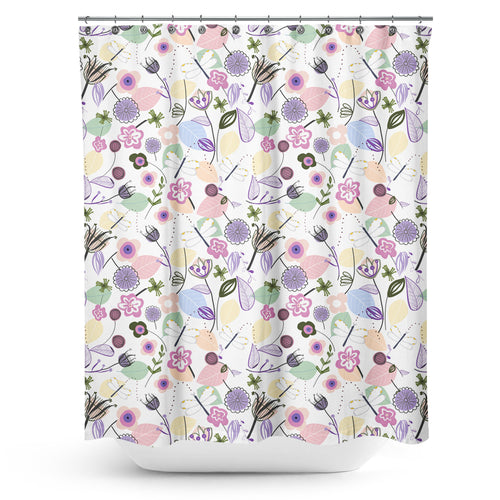 Cortina de Baño Abstract Flowers and Dragonfly Pastel Colored Floral Spring Pattern