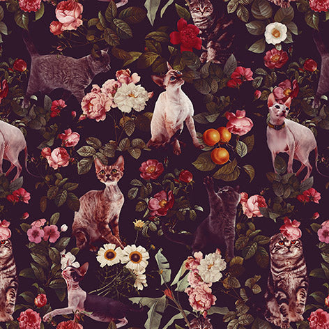 Papel Mural Floral and Cats