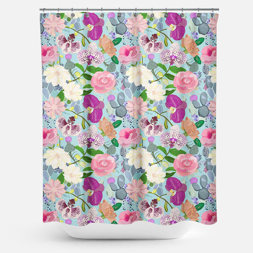 Cortina de Baño orchid succulent and roses colorful pattern