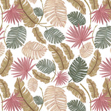 Papel Mural Nature color hand drawn tropical leaves