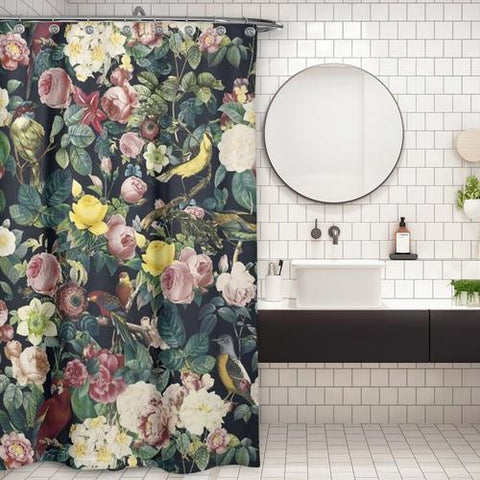 Cortina de Baño Floral and Bird IV