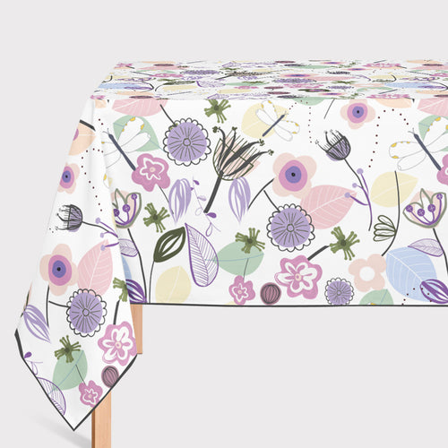 Mantel de Hule Abstract Flowers and Dragonfly Pastel Colored Floral S