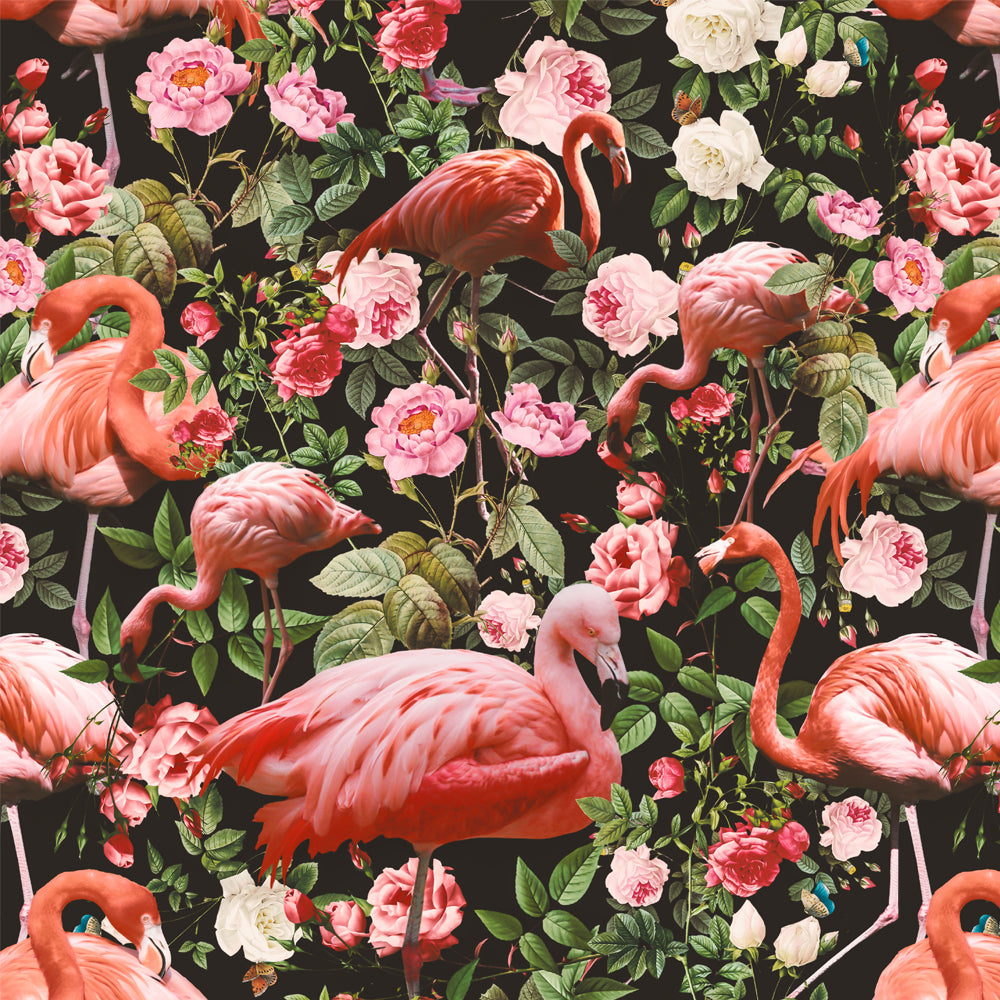 Papel Mural Floral and Flamingo Pattern