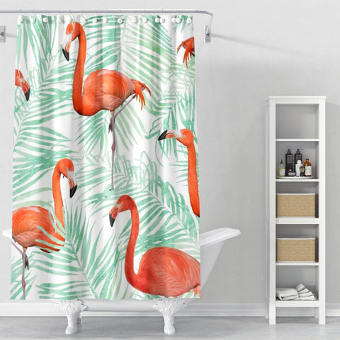 Cortina de Baño Flamingo & Mint Palm