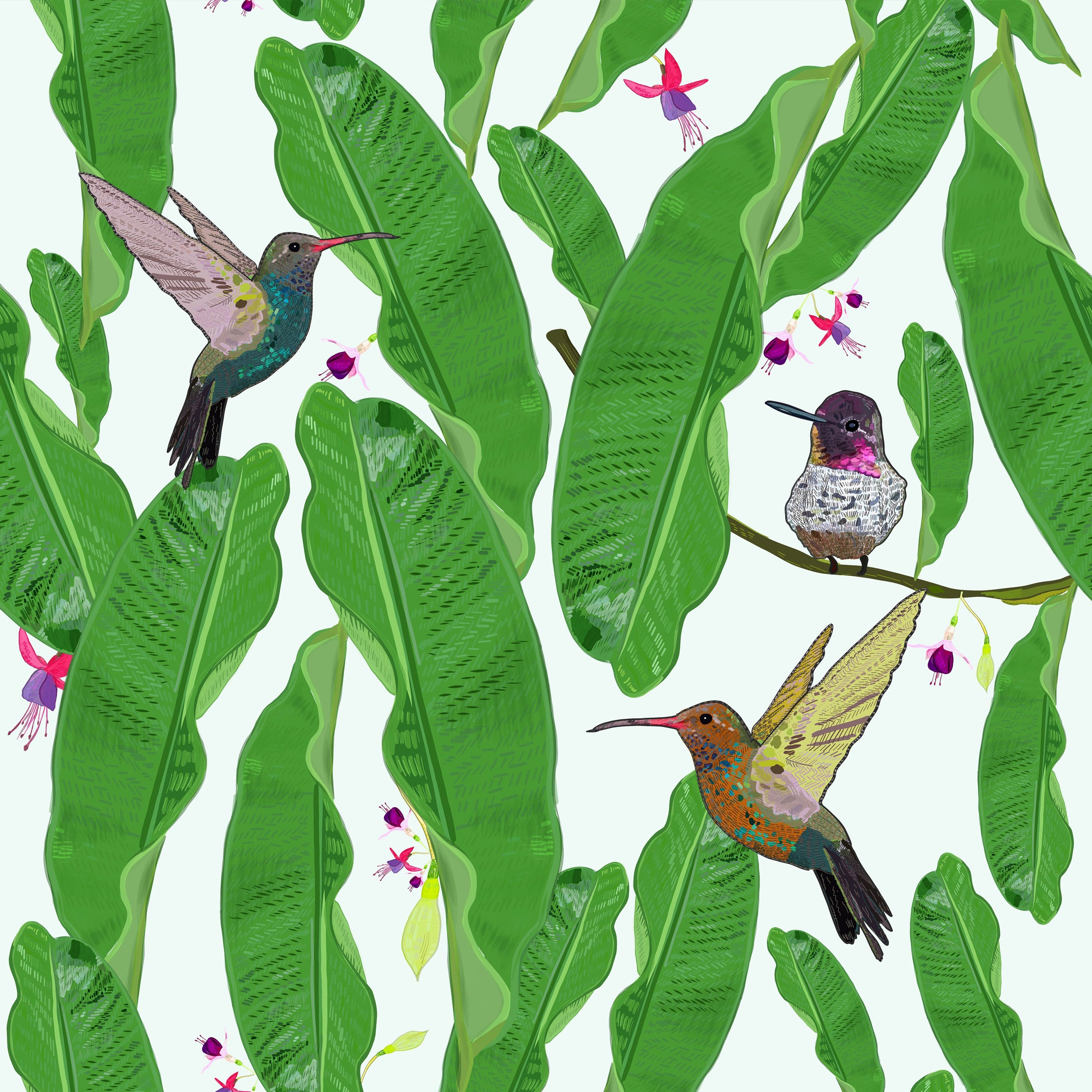 Cojín de Piso Hummingbird, fuchsia and banana leaves