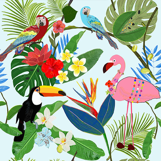 Cojín de Piso Toucan, Parrot, Flamingo and Tropical