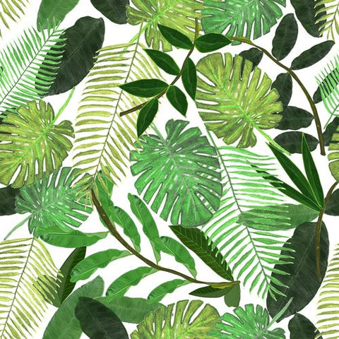 Canvas Green Tropical Watercolor Leaves Pattern
