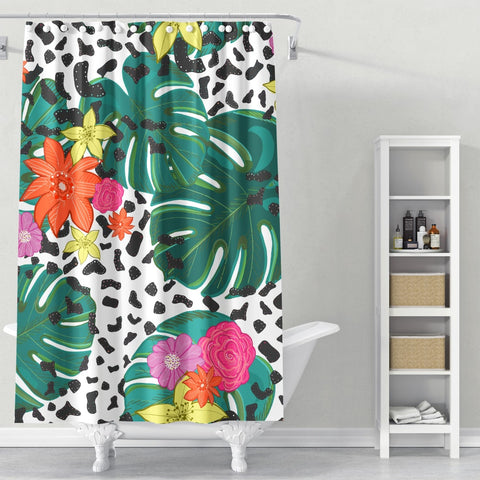 Cortina de Baño Shining Leopard Detailed Colorful Happy