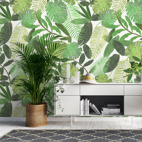 Papel Mural Green Tropical Watercolor Leaves Pattern