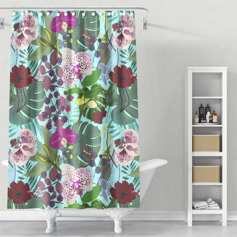 Cortina de Baño Orchid and Cosmos Flower Botanical Floral Pattern