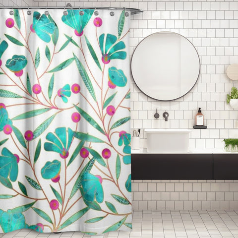 Cortina de Baño Turquoise Floral