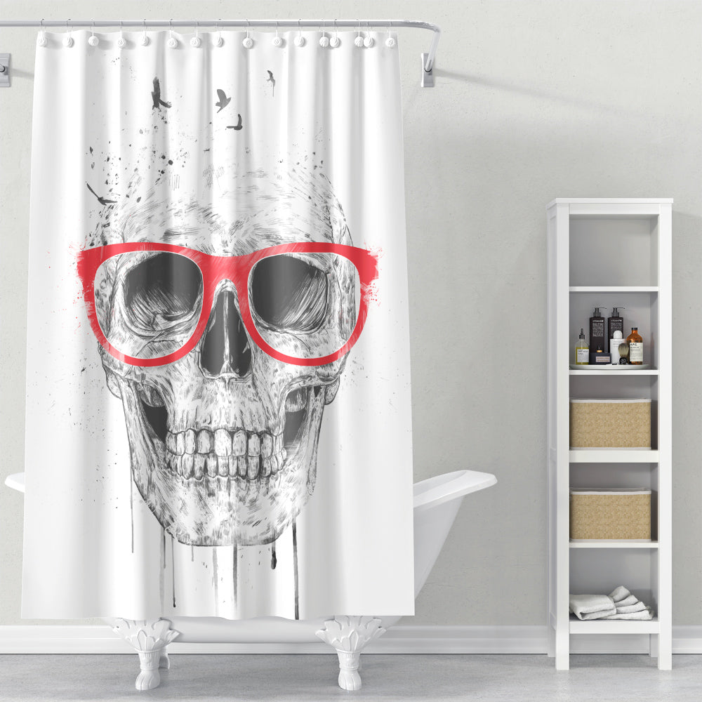 Cortina de Baño Skull with red glasses
