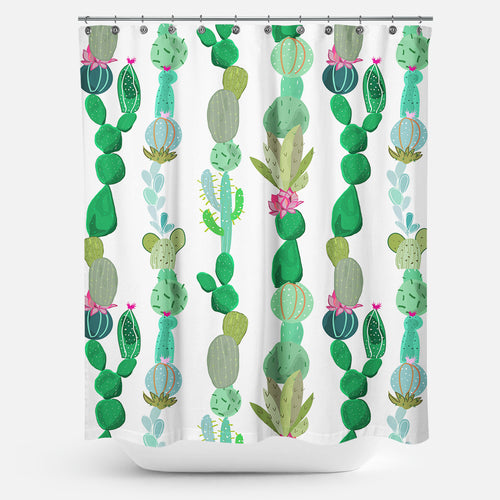 Cortina de Baño Cactus and Flowers Tropical Pattern