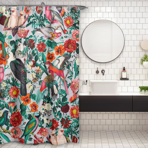 Cortina de Baño FLORAL AND BIRDS XIV