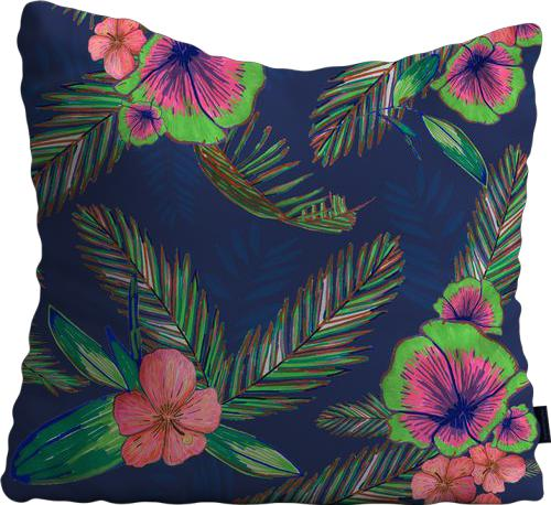 Cojín de Piso Colorful Hand Drawn Hibiscus and Palm