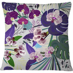 Cojín Orchid and Purple Green Tropical pattern
