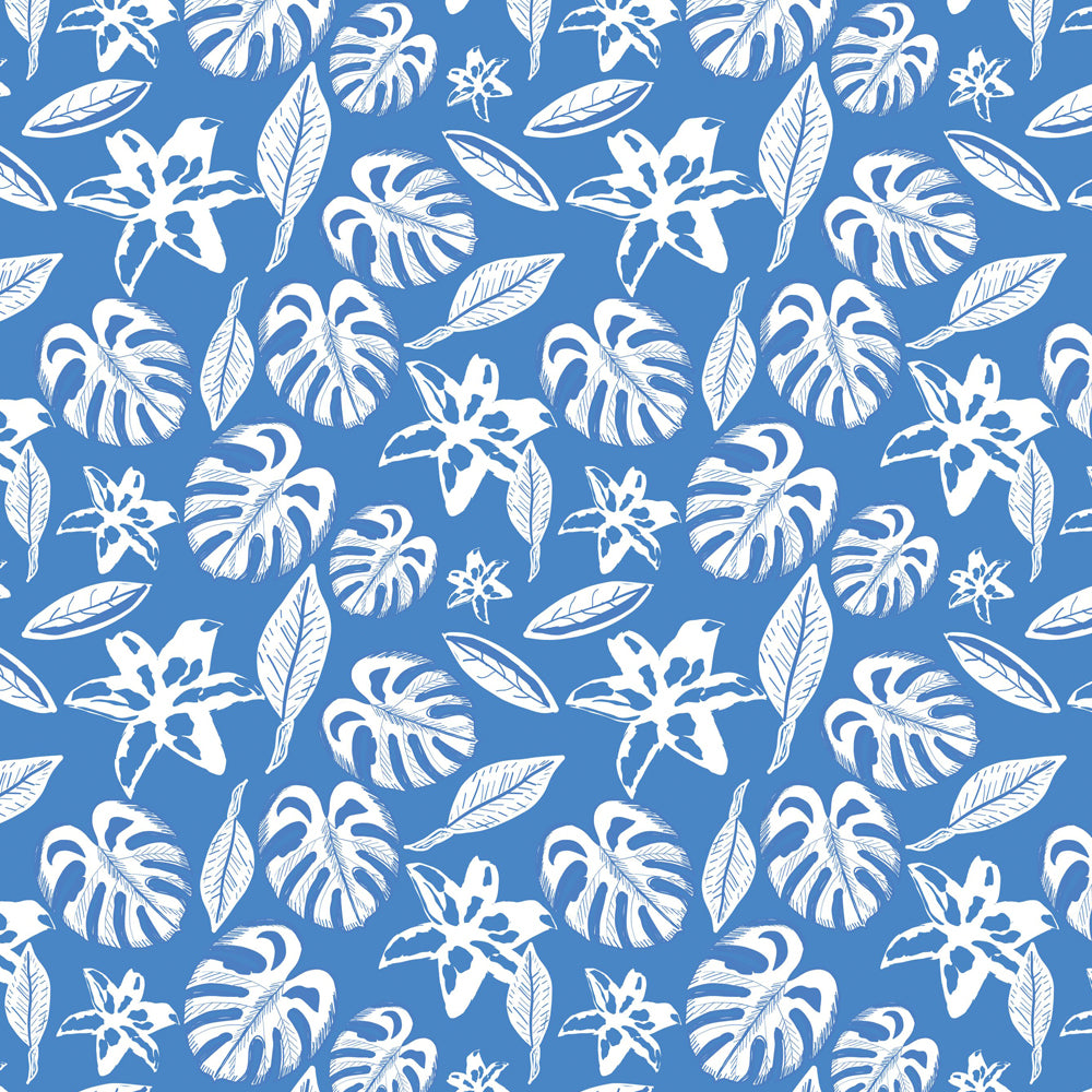 Mantel de Hule Tropical leaves and lily flower blue