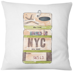 Cojin NEW YORK VINTAGE FLIGHT TAG