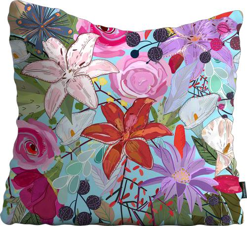 Cojín de Piso Lily and colorful flowers pattern blue