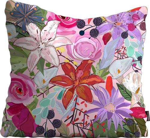Cojín de Piso Lily and colorful flowers pattern pink